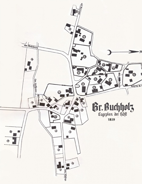 Groß-Buchholz Dorf-Karte von 1859